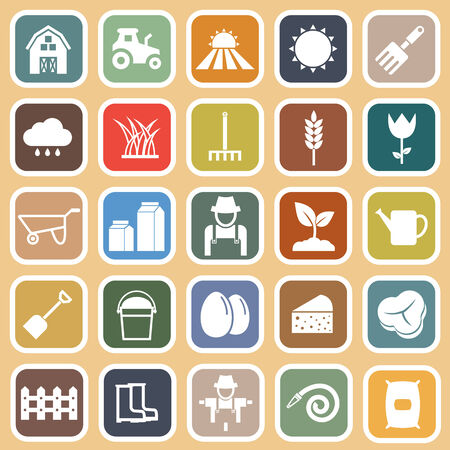 Farming flat icons on brown background Vector