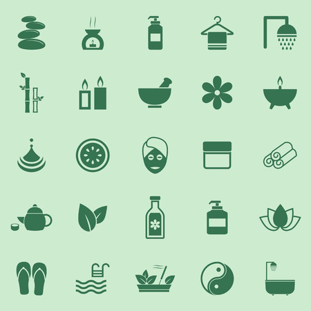 skin oil: Spa color icons on green background