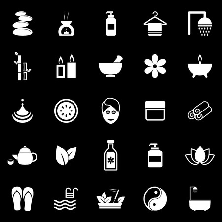 Spa icons on black background Stock Vector - 28026517