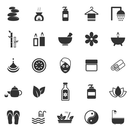 massage therapy: Spa icons on white background