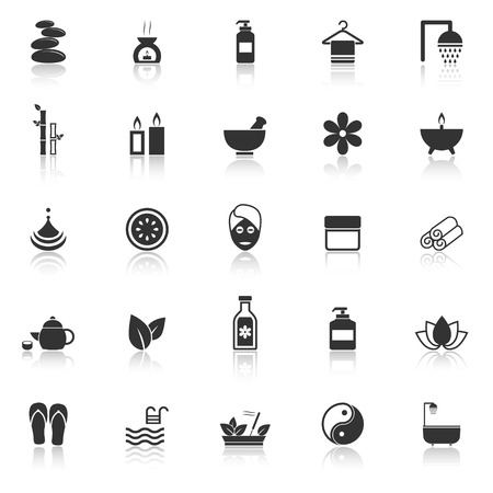 foot care: Spa icons with reflect on white background