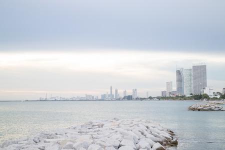 waterside: Group of towers near seashore, stock photo Stock Photo