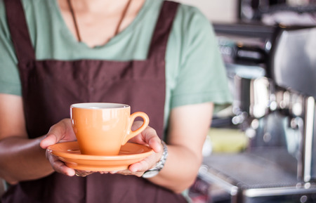 Barista presents freshly brewed coffee, stock photo