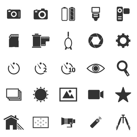 neutral density filter: Camera icons on white background, stock vector