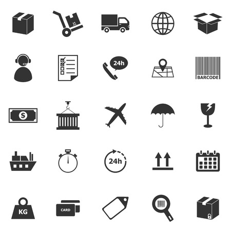 Logistics icons on white background, stock vector Illustration