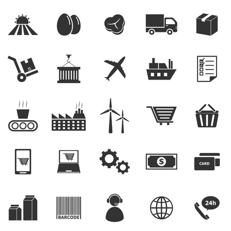 Supply chain icons on white background, stock vector Illustration