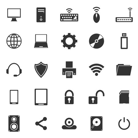 Computer icons on white background Illustration