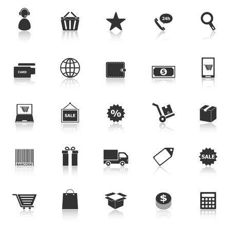 E-commerce icons with reflect on white background, stock vector Vector