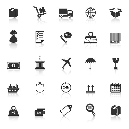 Logistics icons with reflect on white background, stock vector Illustration