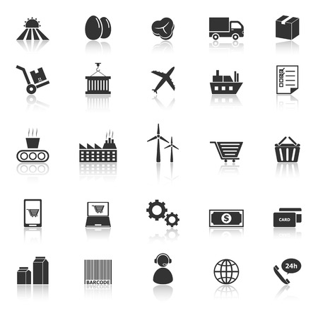 Supply chain icons with reflect on white background, stock vector Vector