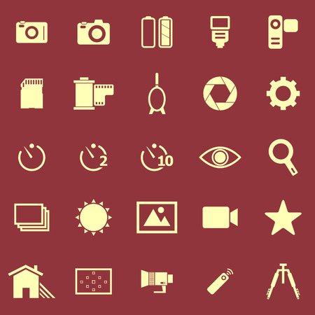 polarizing: Camera color icons on red background, stock vector