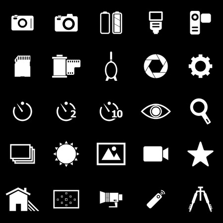 neutral density filter: Camera icons on black background, stock vector