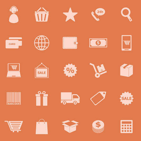 package printing: E-commerce color icons on orange background, stock vector