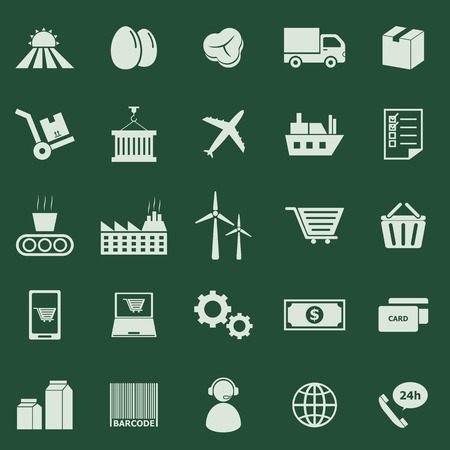 Supply chain color icons on green background, stock vector Vector