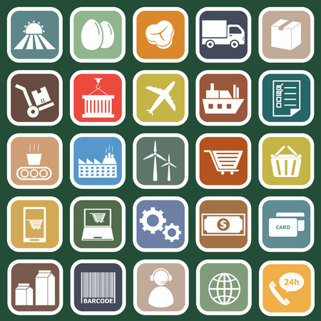 Supply chain flat icons on green background, stock vector Vector