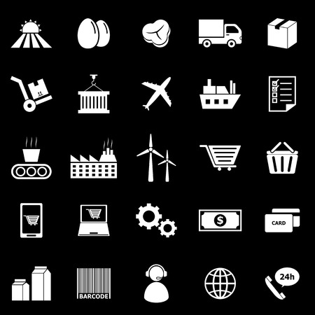 labor market: Supply chain icons on black background, stock vector