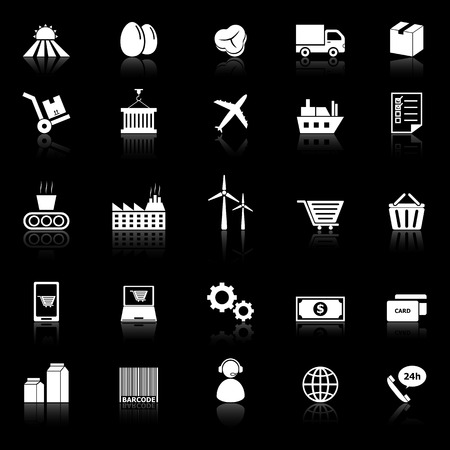 supply chain: Supply chain icons with reflect on black background, stock vector