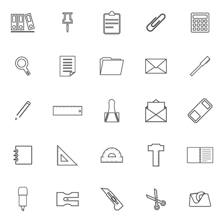 hilight: Stationery line icons on white background, stock vector