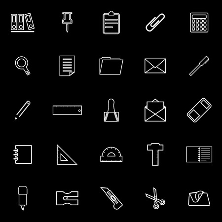 hilight: Stationery line icons on black background, stock vector