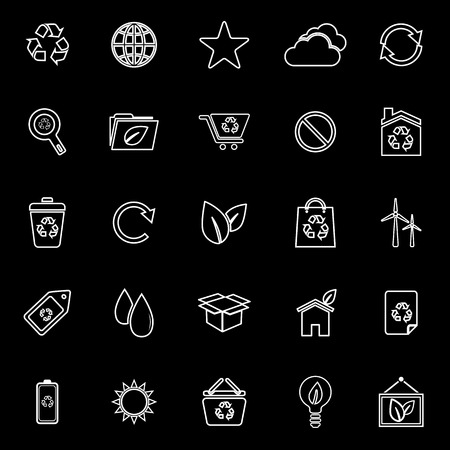 Ecology line icons on black background, stock vector Illustration