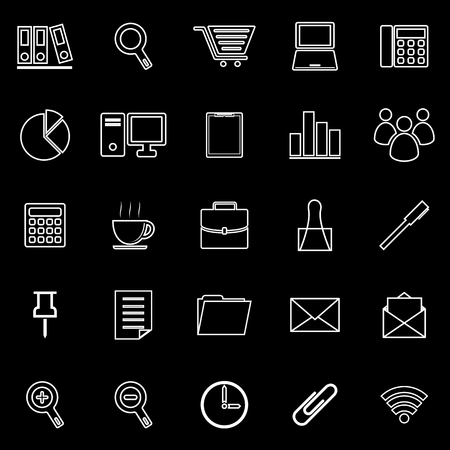 Office line icon on black background, stock vetor Vector