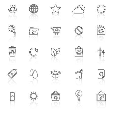 reflect: Ecology line icons with reflect on white background Illustration