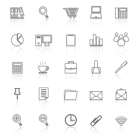 reflect: Office line icon reflect on white background