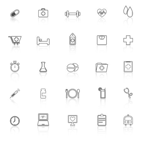 reflect: Health line icons with reflect on white background Illustration
