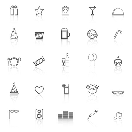 Party line icons with reflect on white background