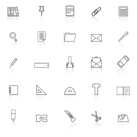 hilight: Stationery line icons with reflect on white background, stock vector