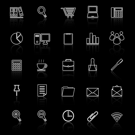 reflect: Office line icon reflect on black background