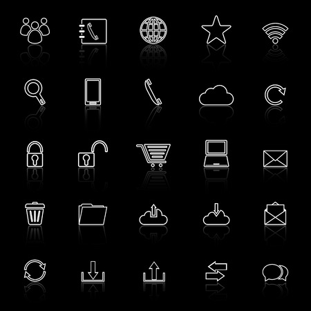 reflect: Communication line icons with reflect on black background
