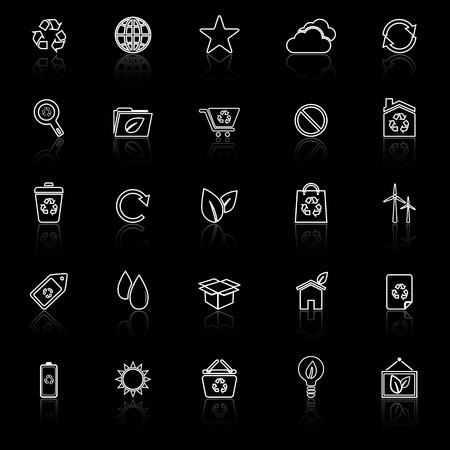 reflect: Ecology line icons with reflect on black background