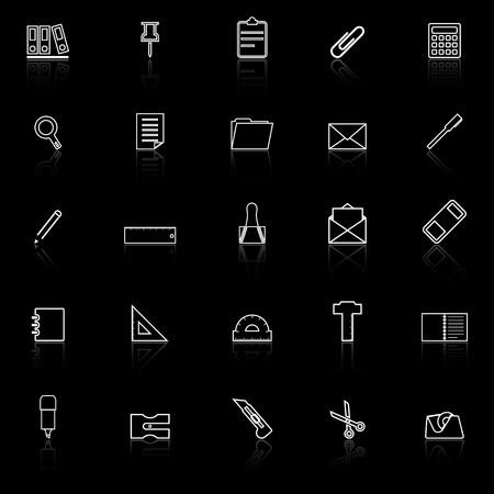 hilight: Stationery line icons with reflect on black background, stock vector Illustration