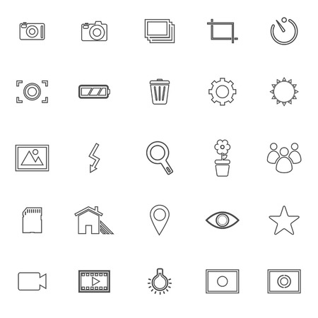 Photography line icons on white background, stock vector