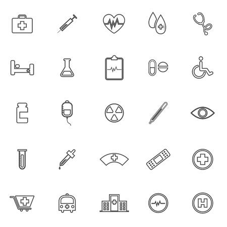 eye bandage: Medical line icons on white background, stock vector