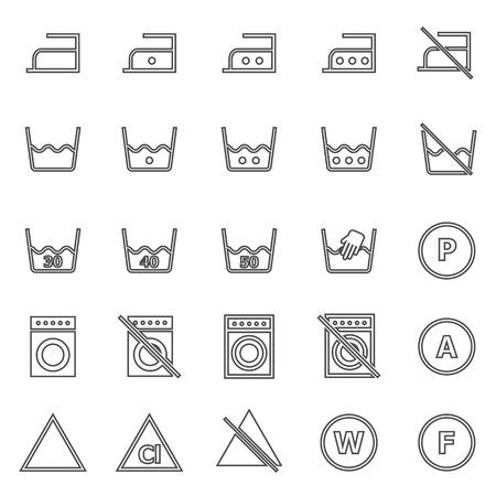 laundry line: Iconos de la l�nea de lavander�a en el fondo blanco, Vector stock