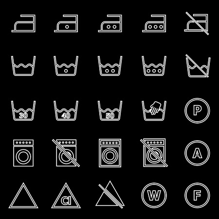 laundry line: Iconos de la l�nea de lavander�a sobre fondo negro, stock vector