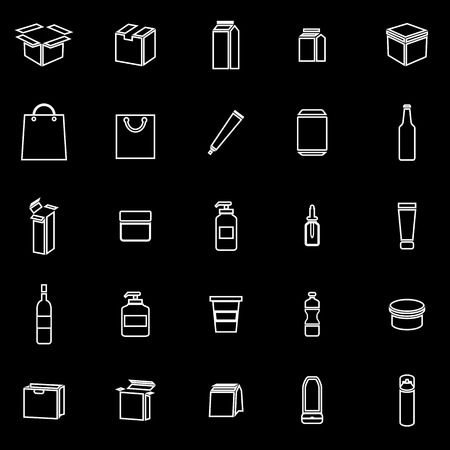 plasticity: Packaging line icons on black background, stock vector Illustration