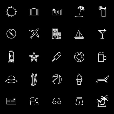 sun block: Summer line icons on black background, stock vector