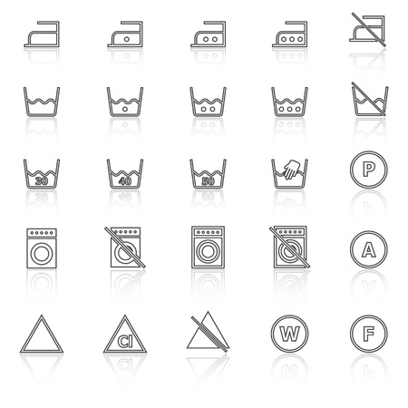 laundry line: Laundry line icons with reflect on white background, stock vector Illustration