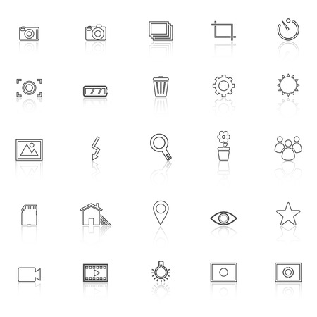 Photography line icons with reflect on white background, stock vector Illustration