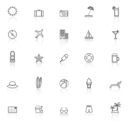 reflect: Summer line icons with reflect on white background, stock vector