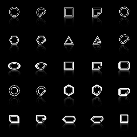 reflect: Label line icons with reflect on black background, stock vector