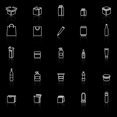 reflect: Packaging line icons with reflect on black background, stock vector Illustration