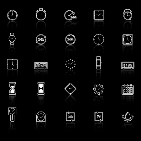 reflect: Time line icons with reflect on black background, stock vector Illustration
