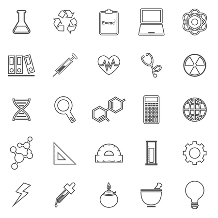 chemically: Science line icons on white background, stock vector Illustration