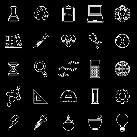 chemically: Science line icons on black background, stock vector