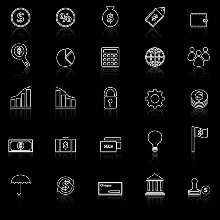 reflect: Finance line icons with reflect on black background, stock vector