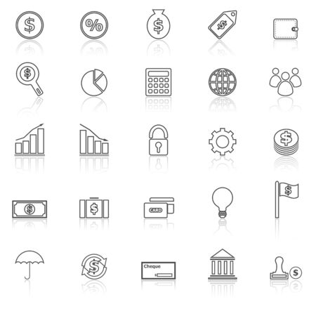 reflect: Finance line icons with reflect on white background, stock vector